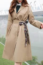 lady scarf belt trench coat