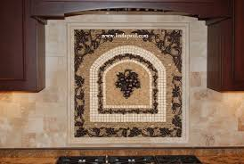 Mural Tiles For Kitchen Decor Grape Metal and Tile Mosaic Backsplash Medallion Travertine 100