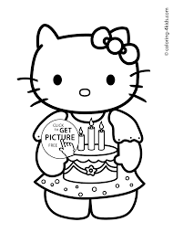 Coloring Pages Kitty Birthday 01 Spring Flower To Print Printable