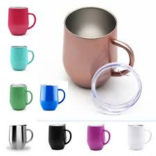 12oz wine glass cup with handle crystal clear lids stainless steel double wall vacuum insulated