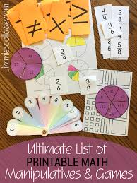ultimate list of printable math manipulatives for homeschool