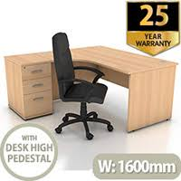 high office desk. Contemporary High Left Hand Radial Panel End Office Desk With 3 Drawer High Pedestal  Beech Bundle Offer For High Office Desk