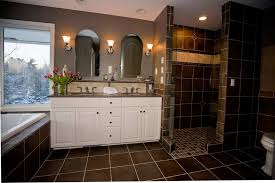high contrast tile and dramatic bathroom look