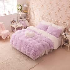 childrens comforter sets queen size purple white girls cashmere wool velvet ruffle duvet 15