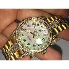 mens grand master real diamond watches for 14k gold geneva watch presidential diamond baze