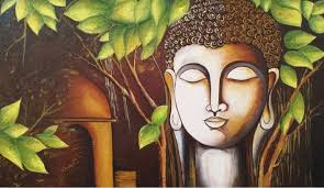 canvas paintings for sale. Textured Buddha Acrylic Canvas Painting (ART_3288_21817) - Handpainted Art 43in X 27in Paintings For Sale