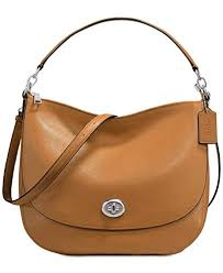 COACH Turnlock Medium Hobo, Silver Light Saddle
