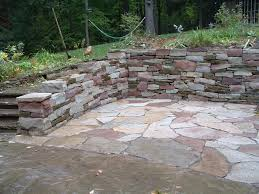 Small Picture Patio Designs Among Retaining Walls Matched With Stone Flooring