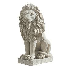 design toscano mansfield manor lion sentinel animal statue 53 25 cm polyresin antique stone co uk garden outdoors
