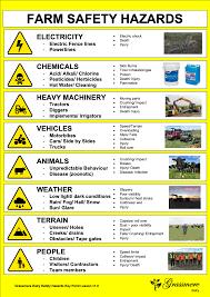 Hazard Chart Farm Safety Hazard Chart