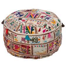 surya patchwork round pouf