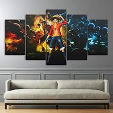 QJXX <b>5</b> Panel Prints On Canvas HD Wall Art <b>One Piece Anime</b>