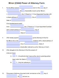Minor Child Power Of Attorney Forms Pdf Templates Power