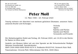 Peter Moll, Olten - Todesanzeige
