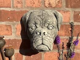 stone garden boxer dog plaque mastiff