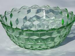 Depression Glass Patterns Interesting Cube Pattern Green Depression Glass Bowl Vintage Jeannette Cubist