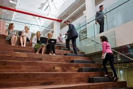 wampamppamp0 open plan office. Office Stairs. Unique Stairs Yodle Employees Hold Impromptu Meetings Tuesday At Their Offices Which Features Wampamppamp0 Open Plan