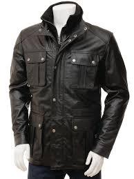 men s black leather jacket nis front