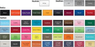 Fruit Of The Loom Color Chart 2017 Tshirts On You Color Selections