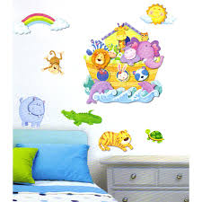 Adesivi murali animali arca di noe cm 50 x 32 per cameretta bambini