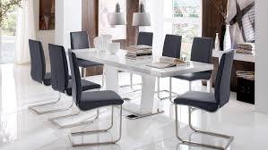 Esstisch Many Tisch Weiß Hochglanz Lackiert Glas Ausziehbar 160 240