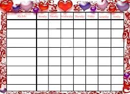 Free Printable Chore Charts Valentines Day Hearts Kids