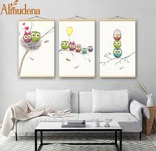 almudena framed cartoon color birds canvas painting children s room wall art poster modern home decoration abstract