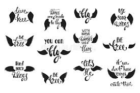 Wings Quotes 71 Amazing Vector Set Of Hand Drawn Calligraphy Phrases With Angel Wings R
