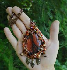 autumn leaf pendant in fall colors elven wire wrapped crystal necklace copper red and