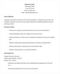 Objective For Pharmacy Tech Resume