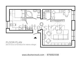 furniture for floor plans. outline vector of simple furniture plan floor symbol as architecture design elements a for plans