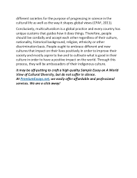 sample essay on a world view of cultural diversity  4 different