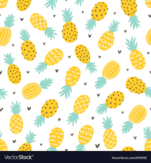 Pineapple Pattern Enchanting Pineapple And Hearts Seamless Pattern Royalty Free Vector