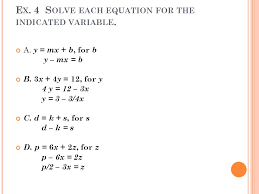 solve the equation for indicated variable worksheet tessshlo