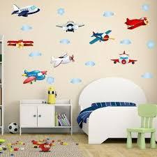 cartoon airplane wall decal clouds wall