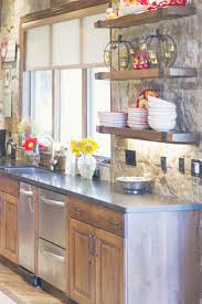 hewn wood kitchen island top