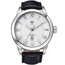 mens watches for luminous watch leather strap and silver case aibi mens watches for luminous watch leather strap and silver case white dial