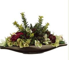 Small Picture Green and Burgundy Silk Hydrangea and Succulent Arrangement WF1028