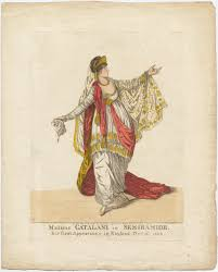 19th century opera victoria and albert museum angelica catalini in the title role of portogallo s opera semiramide king s theatre london coloured engraving 1806