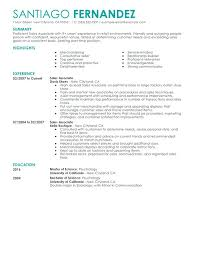 Sample Resume For Sales Associate No Experience Part Time Sales