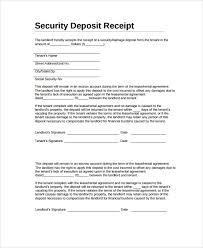 Deposit Receipt Sample Sample Security Deposit Receipt 8 Free Documents Download In Word