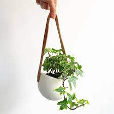 ceramic and leather orbis hanging planter