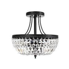 jessica clear crystal basket semi flush mount chrome light