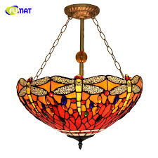 fumat european retro tiffany stained glass dragonfly for living room dining room bedroom creative rose anti chandelier