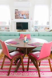 living room dining room bo with retro pink chairid century modern table