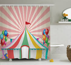 circus decor shower curtain set old style vintage circus tent with baloons carnival celebration performance animals artwork bathroom accessories