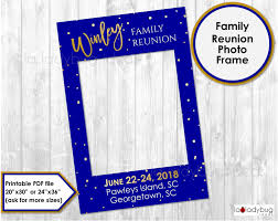 family reunion frame photo prop blue and golden party photo prop diy pdf printable file glitter gold and royal blue frame for selfie