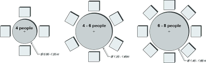 6 person round table