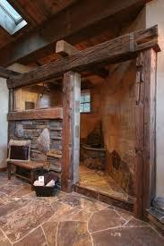 Log Cabin Bathroom Decor Rustic Grotto Walk In Shower Designs Bathroom Walk In Shower