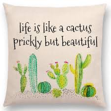Aremazing Inspirational Quote Succulents Plants Cactus Cotton Linen Home Decor Pillowcase Throw Pillow Cushion Cover 18 X 18 Inches Life Is Like A
